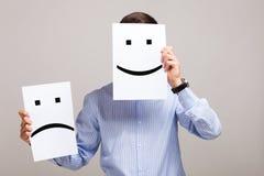 Укомплектуйте личным составом изменять его настроение от плохого к хорош Стоковая Фотография