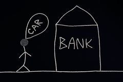 Укомплектуйте личным составом искать финансовая помощь от банка для того чтобы купить новый автомобиль, концепцию денег, необыкно Стоковая Фотография RF
