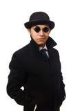 Укомплектуйте личным составом нося черное пальто изолированное на белизне Стоковые Изображения