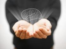 Укомплектуйте личным составом показывать виртуальные мозги на открытой ладони, концепции идеи Стоковые Фотографии RF