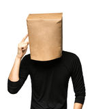 укомплектуйте личным составом покрывать его голову используя бумажную сумку думать человека Стоковая Фотография