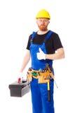 Укомплектуйте личным составом построитель при изолированный комплект инструментов конструкции, Стоковая Фотография RF