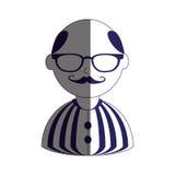 Укомплектуйте личным составом половинный цвет силуэта тела с усиком и стеклами с рубашкой striped и облыселой Стоковая Фотография