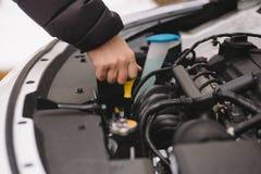 Укомплектуйте личным составом проверять уровень масла в его автомобиле используя dipstick Стоковое Изображение RF