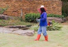 Укомплектуйте личным составом работника с gra вырезывания косилки триммера лужайки строки електричюеского инструмента Стоковое Фото