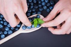 Укомплектуйте личным составом руки ` s делая состав с свежими ягодами вокруг ложки, взгляд сверху Взгляд сверху голубик на темной Стоковое фото RF