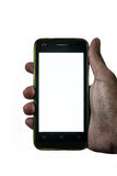 Укомплектуйте личным составом руку вися мобильный телефон на изолированной предпосылке Стоковая Фотография