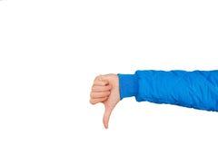 Укомплектуйте личным составом руку показывая большие пальцы руки вниз изолированные на белой предпосылке нелюбовь Стоковые Фотографии RF