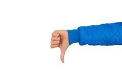 Укомплектуйте личным составом руку показывая большие пальцы руки вниз изолированные на белой предпосылке нелюбовь Стоковое фото RF