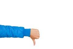 Укомплектуйте личным составом руку показывая большие пальцы руки вниз изолированные на белой предпосылке нелюбовь Стоковые Изображения RF