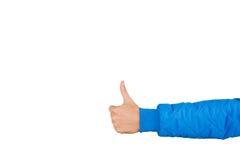 Укомплектуйте личным составом руку ` s при большой палец руки вверх изолированный на белой предпосылке, конце вверх Высокий проду Стоковые Изображения RF