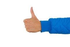 Укомплектуйте личным составом руку ` s при большой палец руки вверх изолированный на белой предпосылке, конце вверх Высокий проду Стоковое Изображение RF