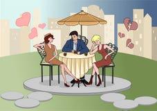 Укомплектуйте личным составом сидеть в кафе с красивыми женщинами Исповедь влюбленности соперники связанный вектор Валентайн иллю Стоковая Фотография RF