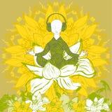 Укомплектуйте личным составом сидеть в положении лотоса в цветке лотоса Вектор запаса Стоковые Изображения RF