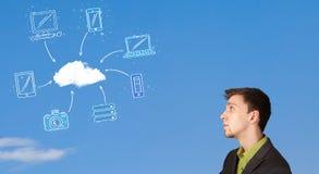 укомплектуйте личным составом смотреть принципиальную схему облака вычисляя на голубом небе Стоковое Изображение