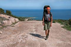 Укомплектуйте личным составом с большим рюкзаком a на море дороги Стоковое Фото