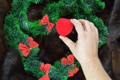Укомплектуйте личным составом установку красной коробки сердца бархата над зеленой гирляндой Стоковые Изображения