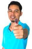 Укомплектуйте личным составом цвет выставки голубой на отпечатке пальцев на белой предпосылке, праве к Стоковые Изображения RF