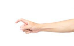 Укомплектуйте личным составом forefinger руки с болью на белой предпосылке, здравоохранении a стоковое изображение