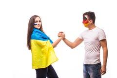 Украина против Германии перед игрой на белой предпосылке Европеец 201 Стоковые Фотографии RF