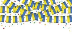 Украина сигнализирует предпосылку гирлянды белую с confetti иллюстрация вектора