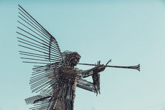 УКРАИНА, CHORNOBYL - 19-ОЕ АВГУСТА 2017: Памятник третьего ангела в Chornobyl Стоковое Изображение RF