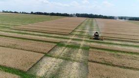 Украина, Dnipro - 4-ое июля 2018: Жатка новая Голландия CX 8 80 собирают сурепку дел сток-видео