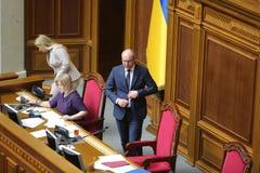 09 04 Украина 2019 kiev Verkhovna Rada Украины Диктор парламента Украины Andrei Paruby на подиуме стоковые изображения