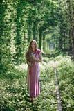 Украинская девушка в национальном костюме на естественном Стоковые Изображения