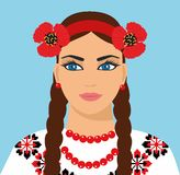 Украинская девушка иллюстрация красивой женщины с венком иллюстрация вектора