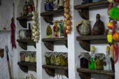 Украинская сельская кухня стиля страны с interioracces деревни Стоковая Фотография