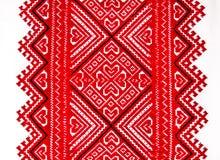 Украинская традиционная национальная красная и черная вышивка орнамента Стоковое Изображение RF