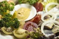 Украинские бекон, сельди и овощи закуски Стоковые Фото