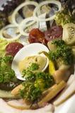 Украинские бекон, сельди и овощи закуски Стоковые Изображения