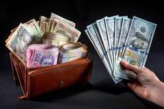 Украинские деньги в бумажнике Стоковое Фото