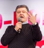 Украинский кандидат в президенты Petro Poroshenko говорит на электрическом Стоковая Фотография