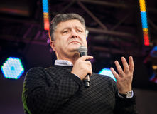Украинский кандидат в президенты Petro Poroshenko говорит на электрическом Стоковая Фотография RF