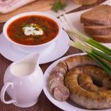 Украинский национальный овощной суп блюда - борщ Стоковые Изображения RF