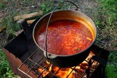 Украинский суп (BORSH) сваренный на открытом огне Стоковые Изображения RF