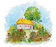 Украинский традиционный ландшафт акварели, Стоковая Фотография