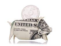 5 украинских копеек в копилке американского доллара Стоковые Фото