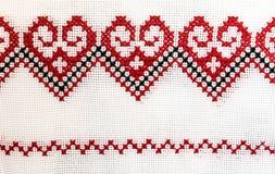 Украинское полотенце вышитое с крестом Стоковые Фото