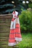 Украинское полотенце на загородке Стоковая Фотография RF