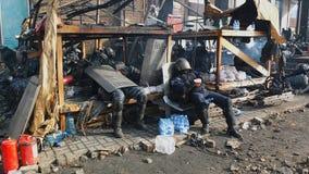 Украин, Киев Улица протестует в Киеве на Maidan, утомленной полиции Стоковое фото RF
