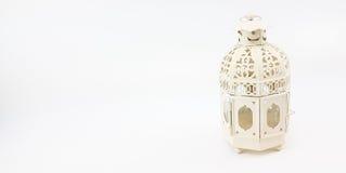 Украсьте случай фонарика белого металла для установки на таблице или смертной казни через повешение Стоковые Фото