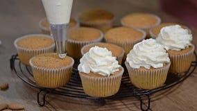 Украшать пирожное с сливк Съемка ` s женщины вручает установку сливк на вкусные торты, домашней концепции масла хлебопекарни видеоматериал