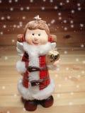 Украшение ангела рождества и космос экземпляра на деревянной предпосылке Стоковое Изображение