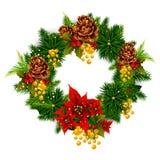 Украшение венка для счастливого Нового Года и с Рождеством Христовым приветствия иллюстрация штока