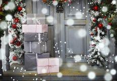 Украшение венка на двери для рождества Стоковые Фото