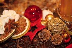 Украшение венка соломы рождества Стоковые Фотографии RF